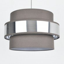 Easy Fit 2 Tier Grey Fabric & Brushed Silver Plated Banded Ceiling Shade