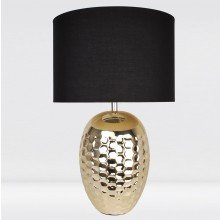 Textured Ceramic Bedside Table Light with Pale Gold Plated Finish and Black Textured Cotton Fabric Shade