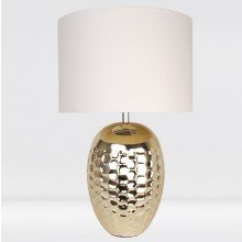 Textured Ceramic Bedside Table Light with Pale Gold Plated Finish and White Textured Cotton Fabric Shade