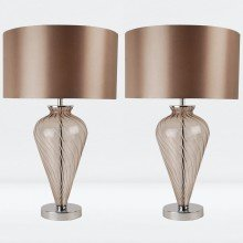 Pair of Mocha Glass Table Lamps with Fabric Shades