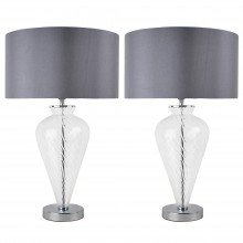 Pair of Clear Glass Table Lamps with Grey Fabric Shades