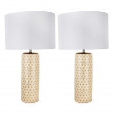 Set of 2 White and Gold Moorish Decal 52cm Table Lamps