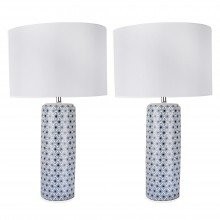Set of 2 White and Navy Blue Moorish Decal 52cm Table Lamps