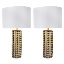 Set of 2 Navy Blue and Gold Ceramic 52cm Table Lamps