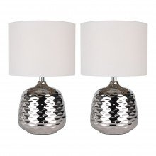 Set of 2 Chrome Ceramic Dimple Table Lamps with White Shades