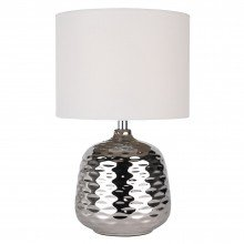 Chrome Ceramic Dimple Table Lamp with White Shade