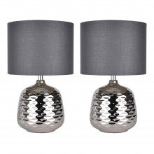 Set of 2 Chrome Ceramic Dimple Table Lamps with Grey Shades