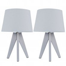 Pair of Grey Wooden 35c Tripod Lamps with Grey Fabric Shade
