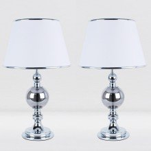 Set of 2 Chrome and Smoked Glass Table Lamps with White Shades