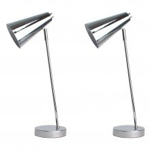 Set of 2 Polished Chrome Retro Inspired Desk Lights
