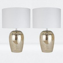 Set of 2 Dual Lit Bead Glass Lamps with Ivory Shade