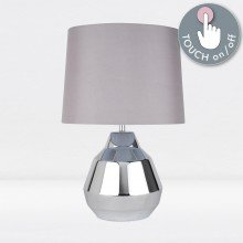 Polished Chrome 39cm Touch Lamp with Grey Shade