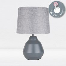 Grey 39cm Touch Lamp with Grey Shade