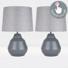 Pair of Grey 39cm Touch Lamps with Grey Shades