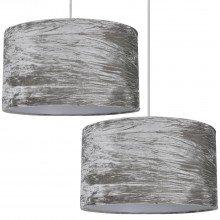 Set Of 2 Grey Crushed Velvet Easy Fit Light Shades