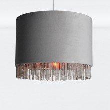 Grey Velvet With Copper Inner Tassled Light Shade