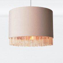 Blush Pink Velvet With Copper Inner Tassled Light Shade