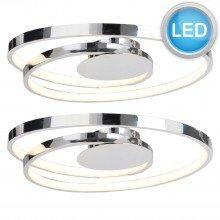 Set of 2 Polished Chrome LED Swirl Flush Fittings
