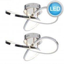 Set of 2 Polished Chrome LED Loop Flush Fittings