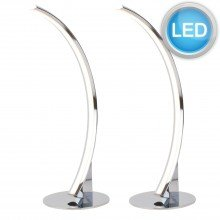 Set of 2 Polished Chrome LED Arc Table Lamps