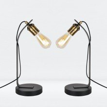 Set of 2 Matt Black with Antique Brass Detail Desk Lamps