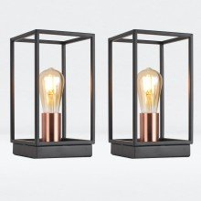 Set of 2 Matt Black With Brushed Copper Detail Table Lights