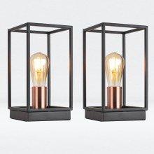 Set of 2 Matt Black With Brushed Copper Detail Table Lights