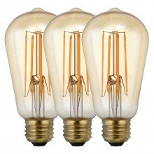 Set of 3 x E27 5W ST58 LED Bulbs in Warm White