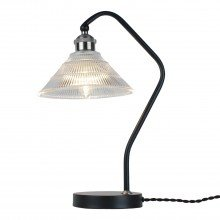 Matt Black With Fluted Glass Table Lamp