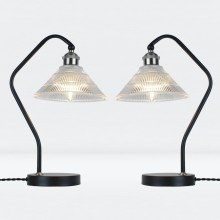 Set of 2 Matt Black With Fluted Glass Table Lamps