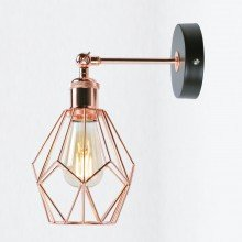 Matt Black & Copper Geometric Wall Light