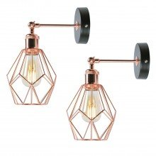 Set of 2 Matt Black & Copper Geometric Wall Lights
