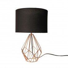 Copper Geometric 40cm Table Lamp with Black Shade