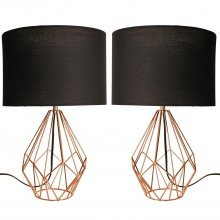 Set of 2 Copper Geometric 40cm Table Lamp with Black Shades
