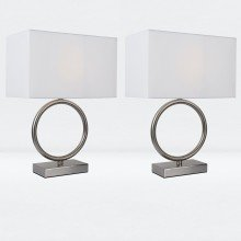 Set of 2 Satin Nickel Hoop Lamps with White Shade