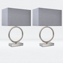 Set of 2 Satin Nickel Hoop Lamps with Grey Shade