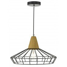 Black Metal Wire Ceiling Light Pendant with Wood Detail
