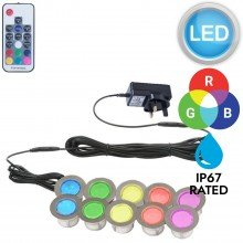 Set of 10 - 45mm Stainless Steel IP67 RGB Colour Changing LED Plinth Decking Kit
