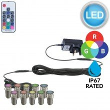 Set of 10 - 15mm Stainless Steel IP67 RGB Colour Changing LED Plinth Decking Kit