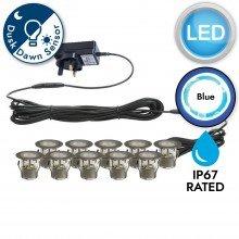 Set of 10 - 30mm Stainless Steel IP67 Blue LED Decking Kit with Dusk til Dawn Photocell Sensor