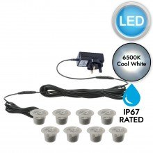 Set of 8 - 30mm Polycarbonate IP67 Cool White LED Plinth Decking Kit