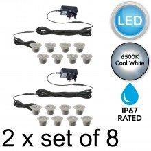2 x SET OF 8 - 30mm IP67 ROUND COOL WHITE LED DECKING / GROUND / PLINTH LIGHT KIT