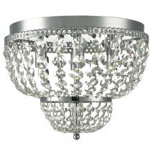Polished Chrome 4 Light Flush with Clear Glass Beads