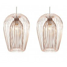 Pair (set of 2) Contemporary Copper Wire Ceiling Light Pendant Chandelier Shade