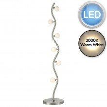 LED Satin Chrome And Opal Glass 6lt Floor Light