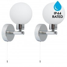 Pair of Polished Chrome IP44 Bathroom Globe Wall Light With Pull Cord Switch