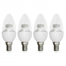 Set of 4 x 3.3W LED E14 Candle Light Bulbs