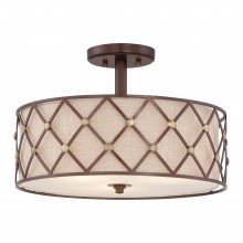 Elstead - Quoizel - Brown Lattice QZ-BROWN-LATTICE-SF Semi-Flush