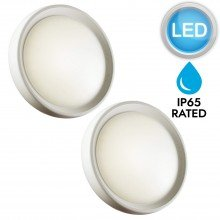 Set of 2 Matt White LED IP65 Outdoor Wall Lights