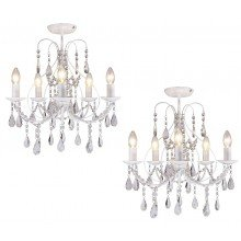 Pair of White 5 Light Crystal Chandeliers